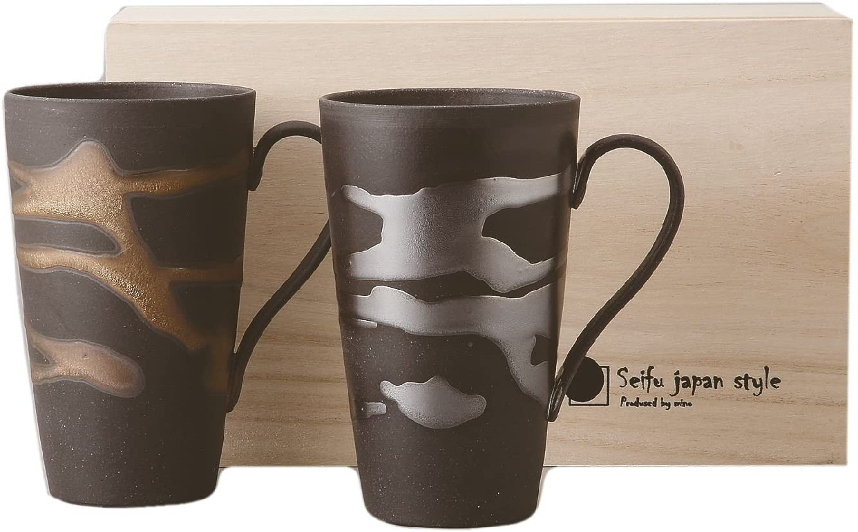 金昇窯(キンショウガマ) 金銀流し ジョッキペア 木箱入り 9-2-61の商品画像