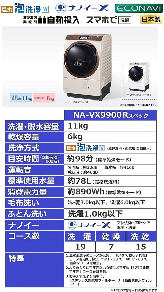 Panasonic(パナソニック) ななめドラム洗濯乾燥機 NA-VX9900の商品画像4