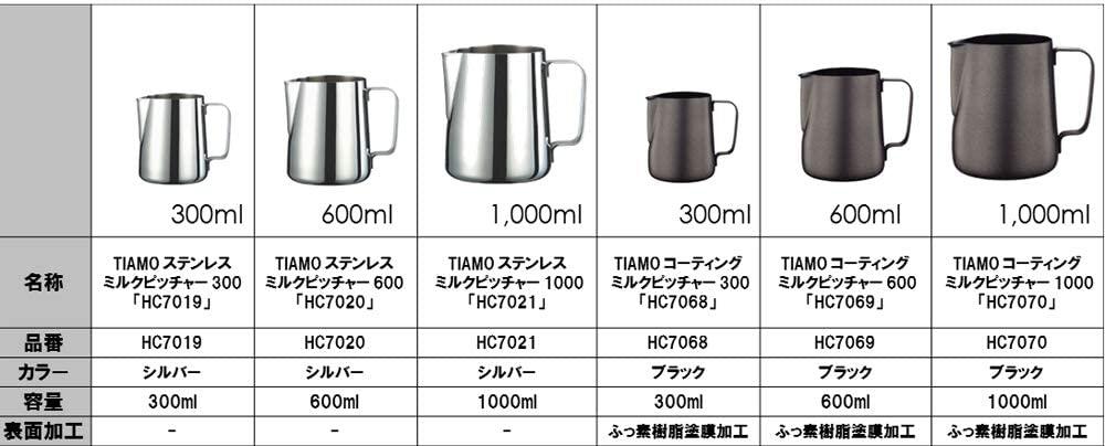 TIAMO(ティアモ)コーティングミルクピッチャー 300 HC7068 ブラックの商品画像3