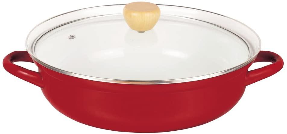 パール金属(PEARL) プレデンシア ホーロー 卓上両手鍋 27cm ガラス鍋蓋付 レッド HB-934の商品画像