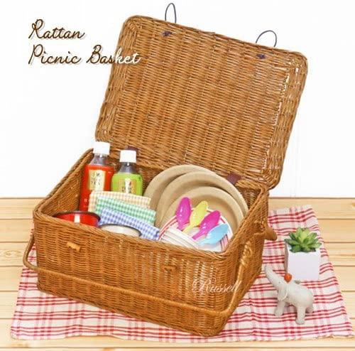 Russell(ラッセル)型番569 手折れハンドル付き 籐かご・ラタンバスケット・ピクニック ブラウンの商品画像2
