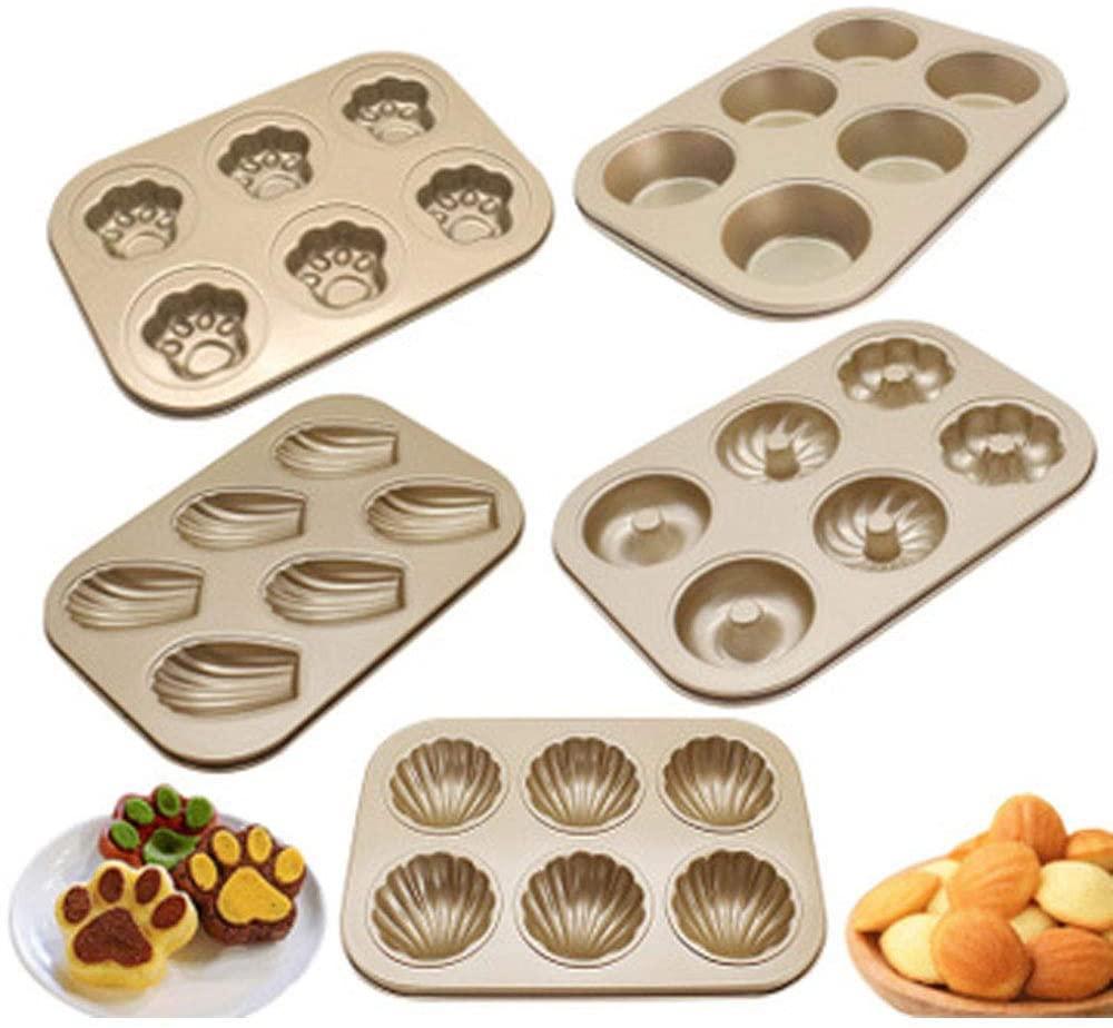 Dream DIY(ドリームディーアイワイ)マドレーヌ型 ケーキ金型 マフィン型 ドーナツ型 6ケ取 お菓子型(3個セットA ブラウンの商品画像4