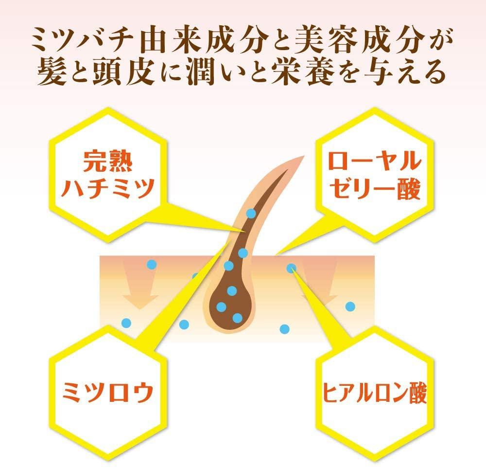 山田養蜂場(やまだようほうじょう)ハニーアロマ シャンプー(つやつやローズ)の商品画像6