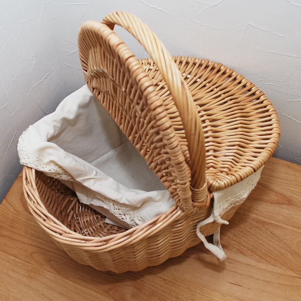 mercado(メルカド)フタ付き ウィッカー ピクニック バスケット (レース) ナチュラルの商品画像5