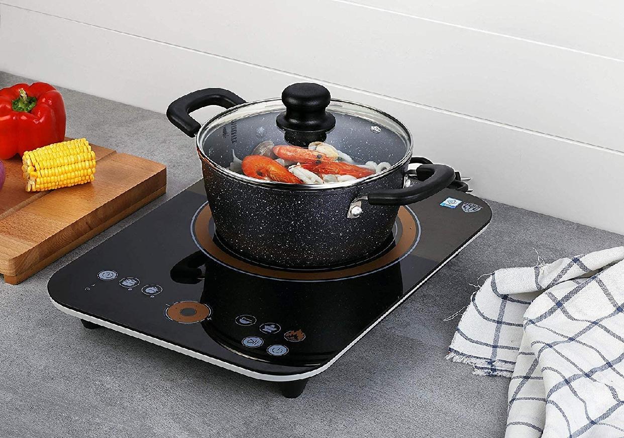 COOKSMARK(クックスマーク) 両手鍋ガラス鍋蓋付 20cm ブラック H-4237の商品画像4