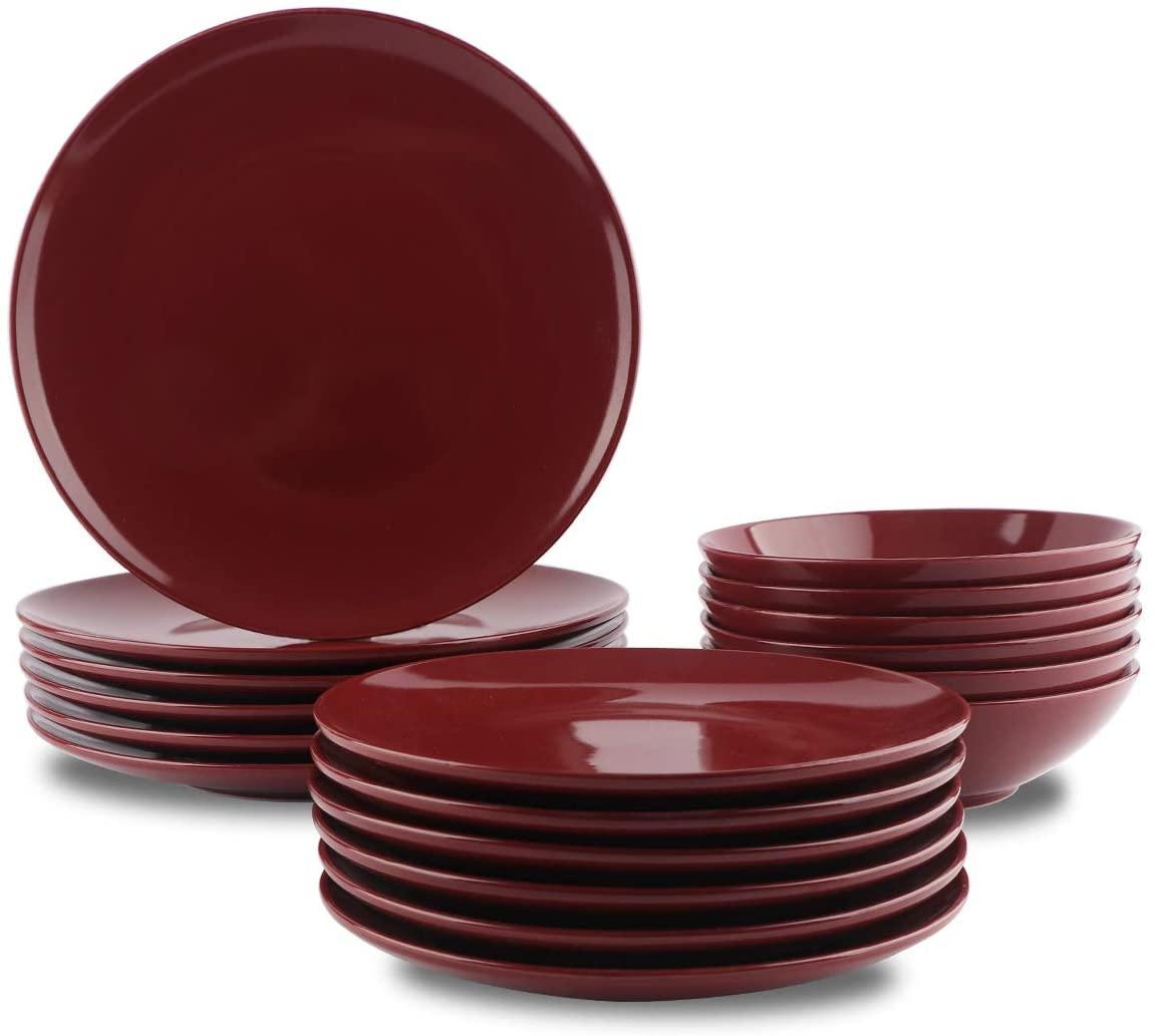 AmazonBasics(アマゾンベーシック) ディナー皿18点セット ストーンウェア クランベリー 6人用の商品画像