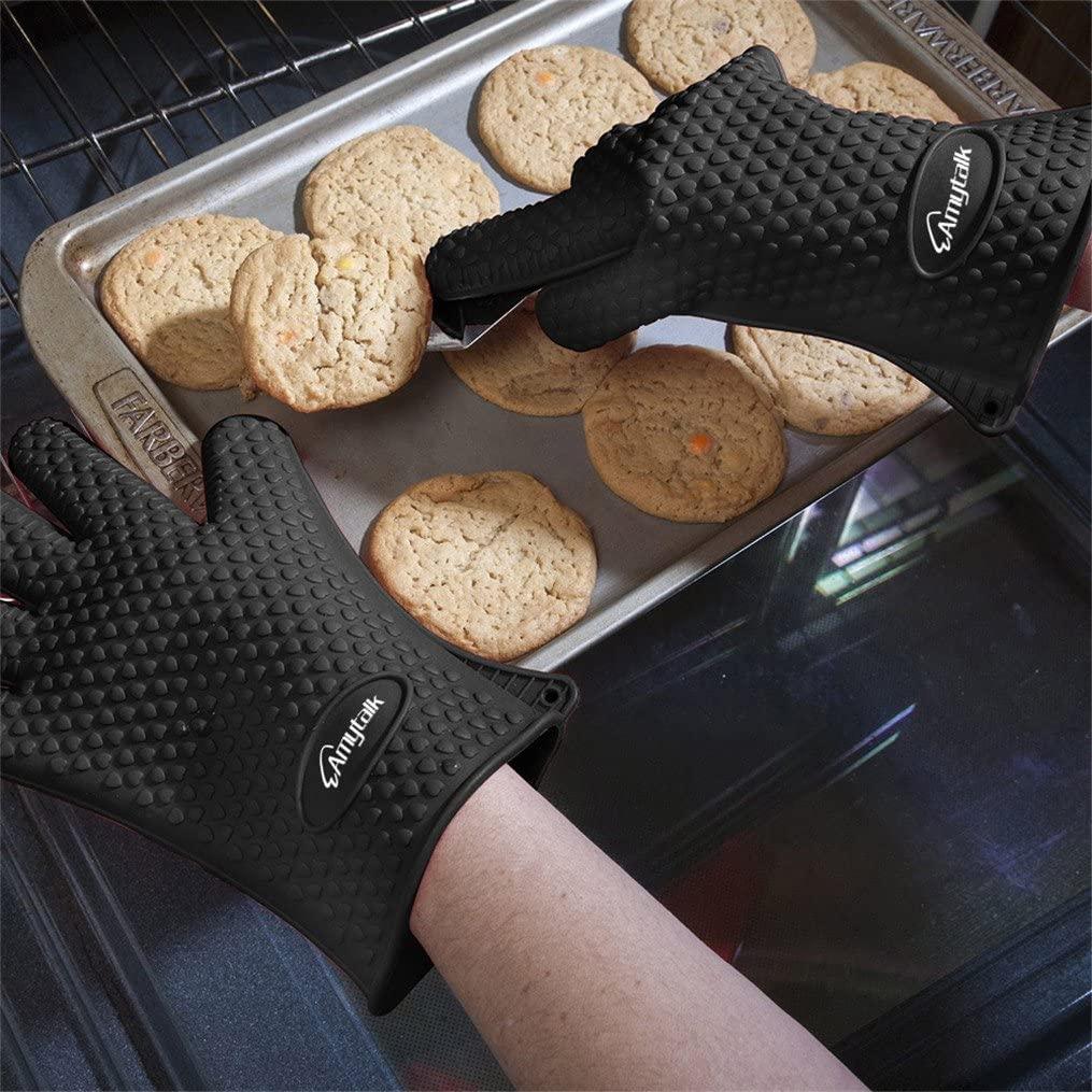 AmyTalk(アミートーク) 耐熱シリコン手袋 5本指キッチン手袋 (ブラック)の商品画像5
