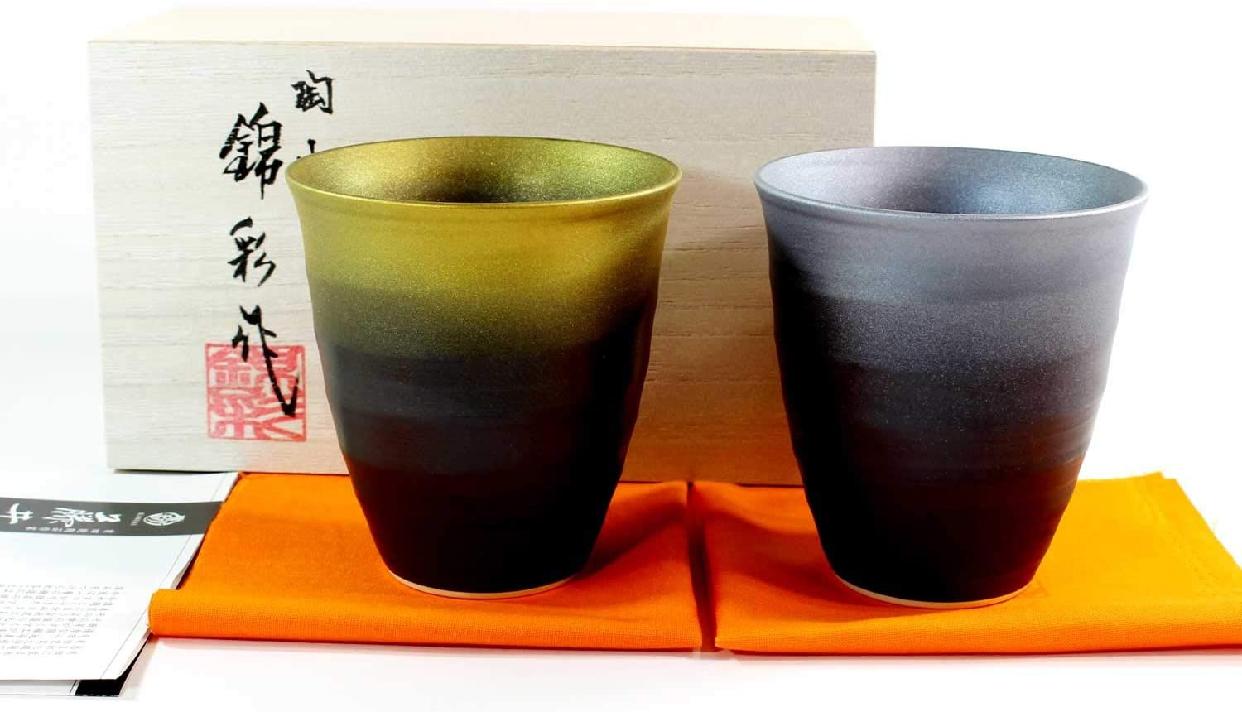 藤井錦彩窯(ふじいきんさい)窯変金プラチナ彩焼酎カップペアセットの商品画像2