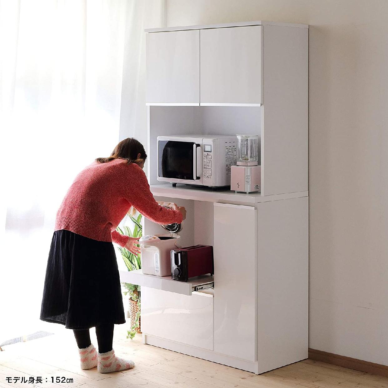 ナポリレンジ台 食器棚コンセント付 完成品 幅88.8cmの商品画像7