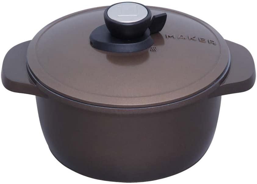 IRIS OHYAMA(アイリスオーヤマ)無加水鍋 20cm ブラウン MKSN-P20の商品画像