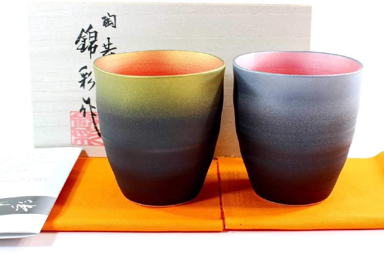 藤井錦彩窯(ふじいきんさい)窯変金プラチナ彩波渕焼酎カップペアセットの商品画像2