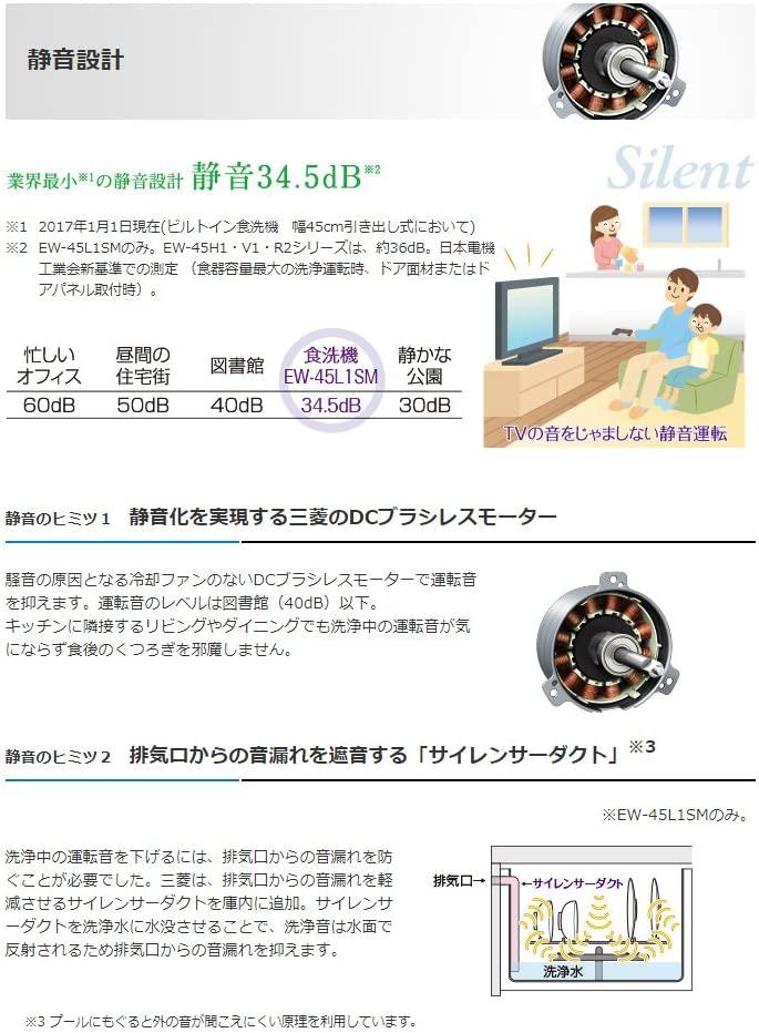 三菱電機(MITSUBISHI ELECTRIC) EW-45R2S (ビルトイン食器洗い乾燥機)の商品画像3