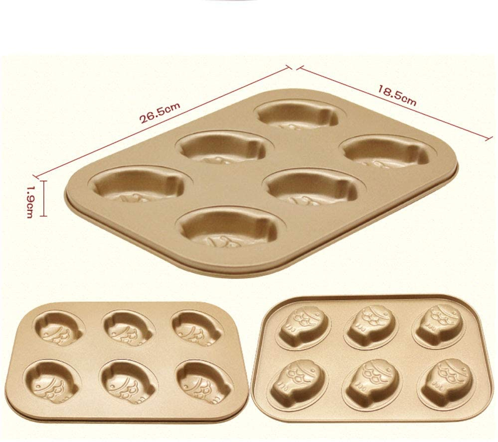 Dream DIY(ドリームディーアイワイ)マドレーヌ型 ケーキ金型 マフィン型 ドーナツ型 6ケ取 お菓子型(3個セットA ブラウンの商品画像2