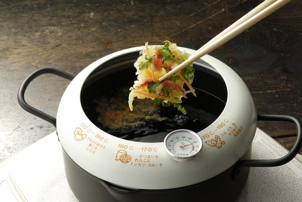 ヨシカワあげた亭 温度計付き天ぷら鍋20cm ブラック SH9257の商品画像5